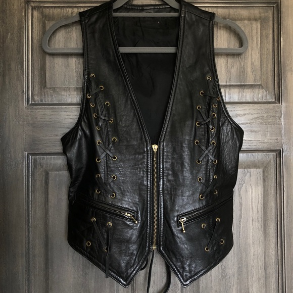 Jackets & Blazers - Leather Lace Up Vest
